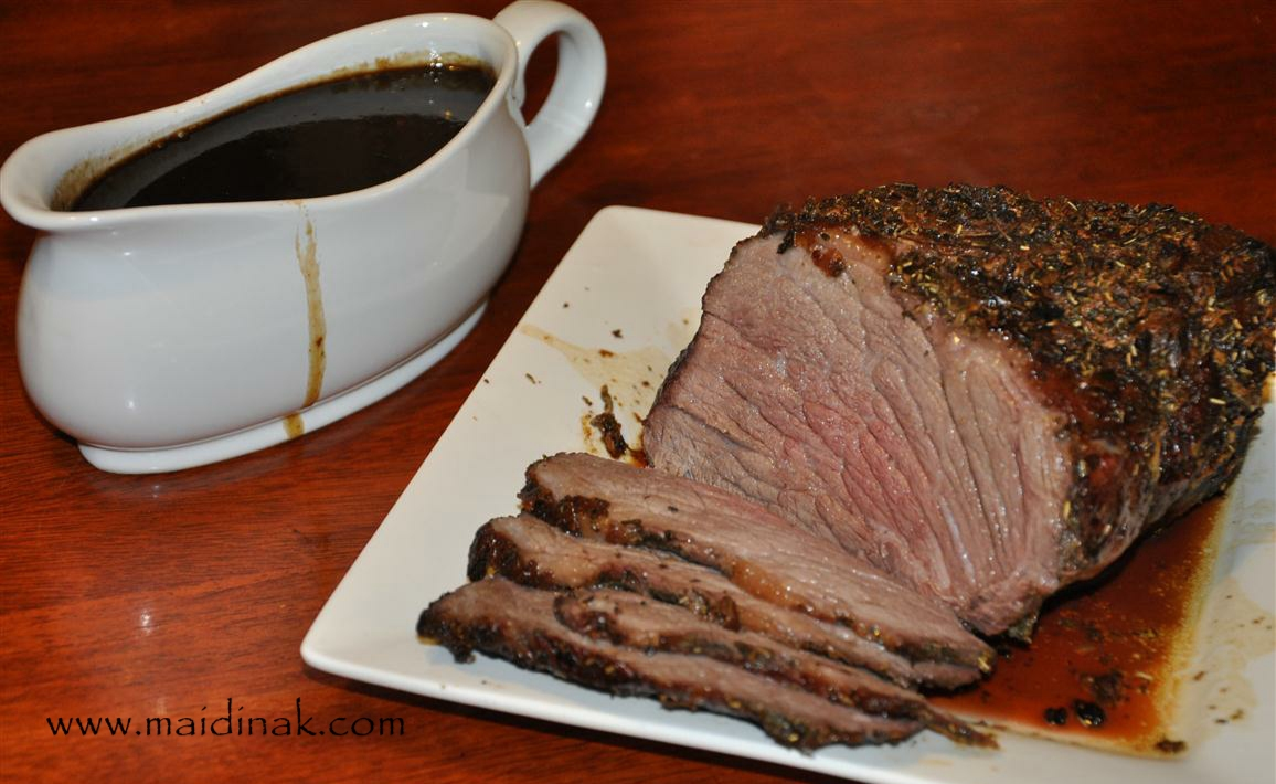 Garlic & Herb Crusted Beef Roast with Red Wine Gravy