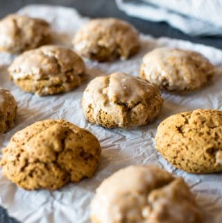Pumpkin Spice Scones with Cardamom Icing (gluten/dairy/soy free)