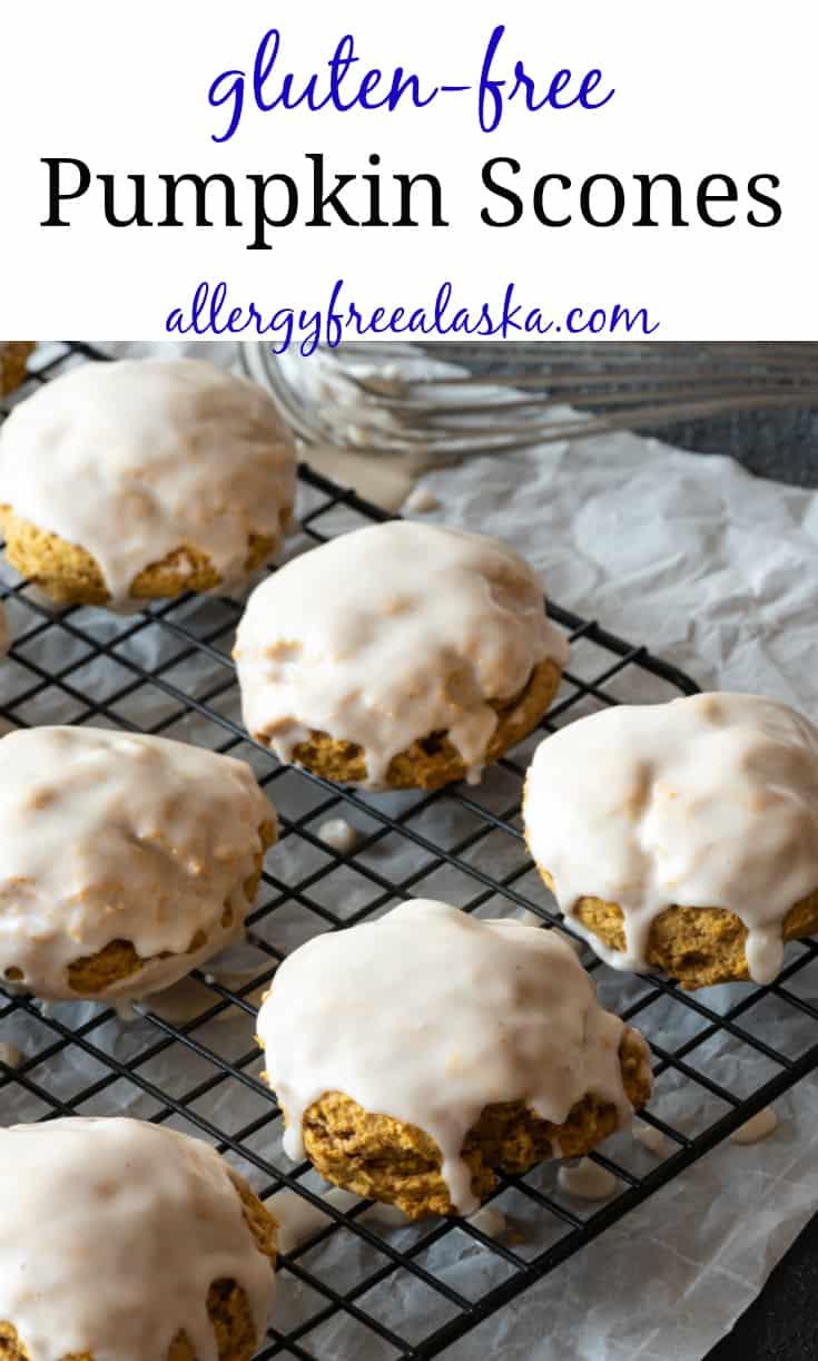 "Pinterest pin with text reading ""gluten-free pumpkin scones, allergyfreealaska.com"""