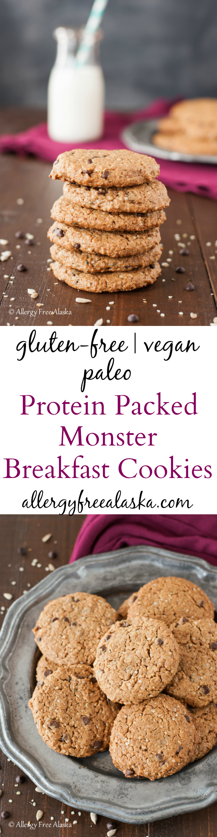 Protein Packed Monster Breakfast Cookies Recipe from Allergy Free Alaska. Gluten-free, Paleo, vegan & nut-free.