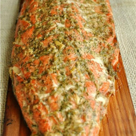 Lemony Cedar Planked Salmon with Garlic & Dill
