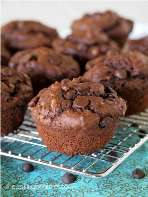 GF Double Chocolate Peanut Butter Banana Muffins - the Baking Beauties