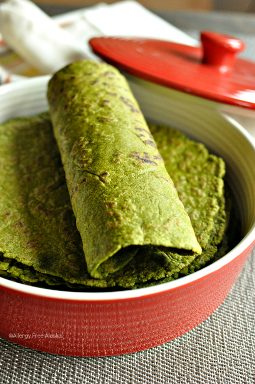 Gluten Free and Vegan Spinach Tortillas from Allergy Free Alaska