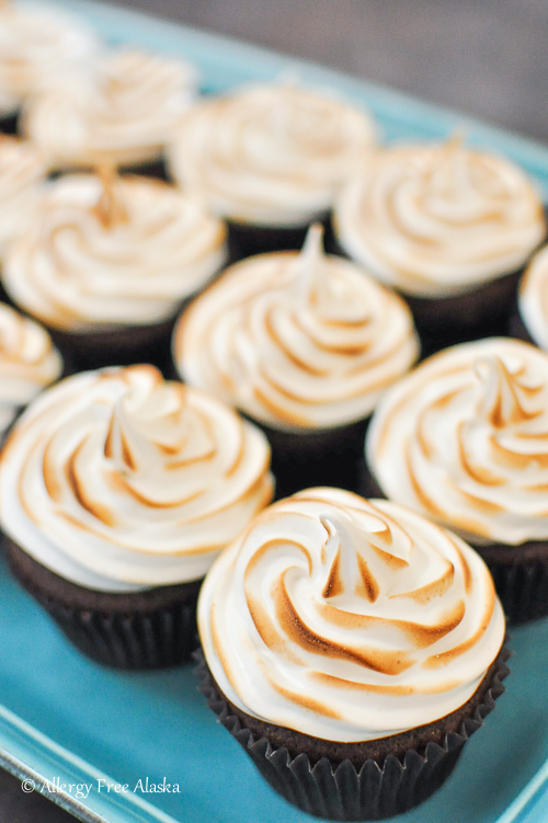 Gluten-Free Chocolate Cupcakes with Toasted Marshmallow Frosting