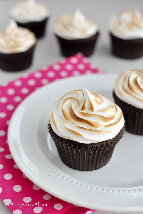 GF Chocolate Cupcakes with Toasted Marshmallow Frosting - Allergy Free Alaska