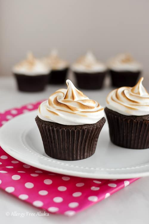 Gluten Free Chocolate Cupcakes with Toasted Marshmallow Frosting- Allergy Free Alaska