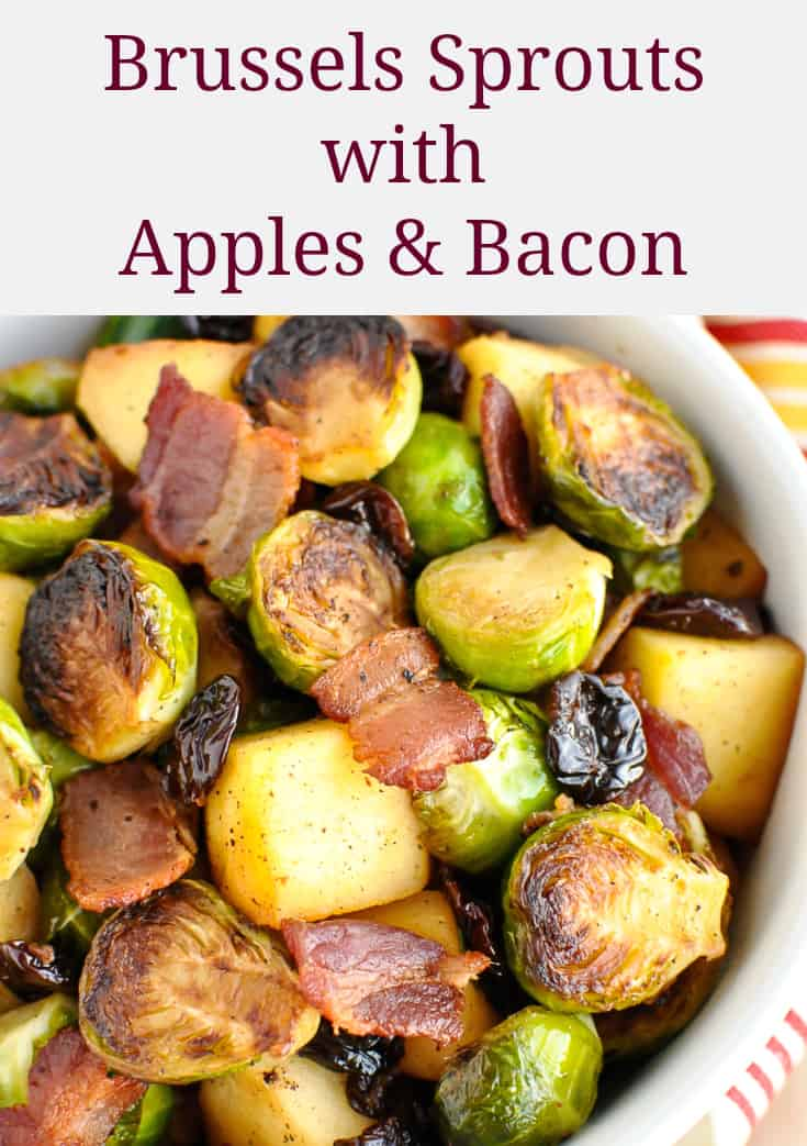 brussel sprouts with apples and bacon pinterest pin with recipe title text