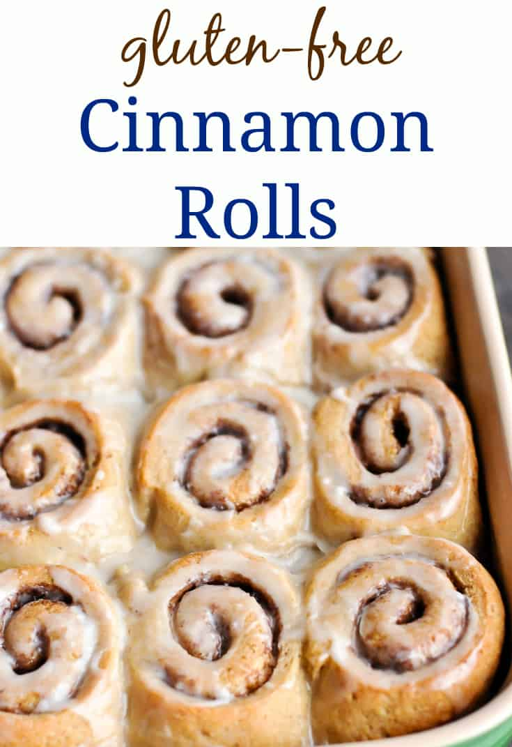 Pinterest collage with gluten-free cinnamon rolls text plus picture of cinnamon rolls in pan