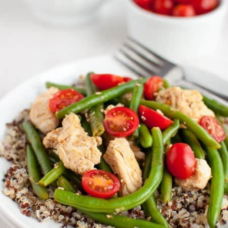Smokey Chicken and Green Beans Over Quinoa