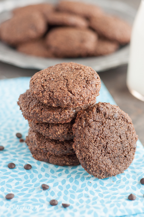 Paleo Double Chocolate Mint Cookies - Recipe from Allergy Free Alaksa