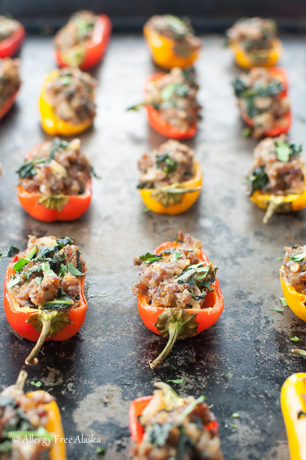 Sausage Stuffed Mini Peppers with Kale & Mushrooms - Allergy Free Alaska
