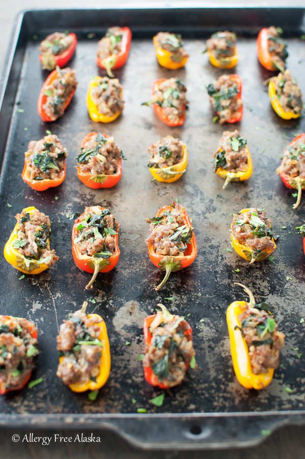 Sausage Stuffed Mini Peppers with Kale & Mushrooms from Allergy Free Alaska Blog
