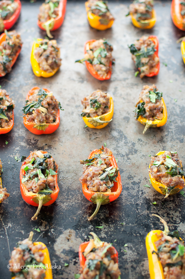 Sausage Stuffed Mini Peppers with Kale & Mushrooms
