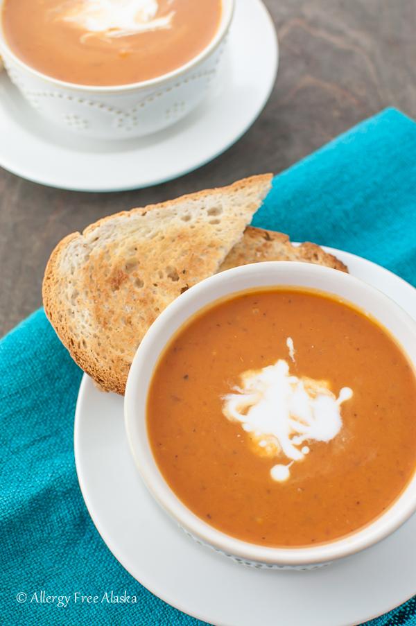 Dairy-Free Lazy Mom's Creamy Tomato Basil Soup - Allergy Free Alaska