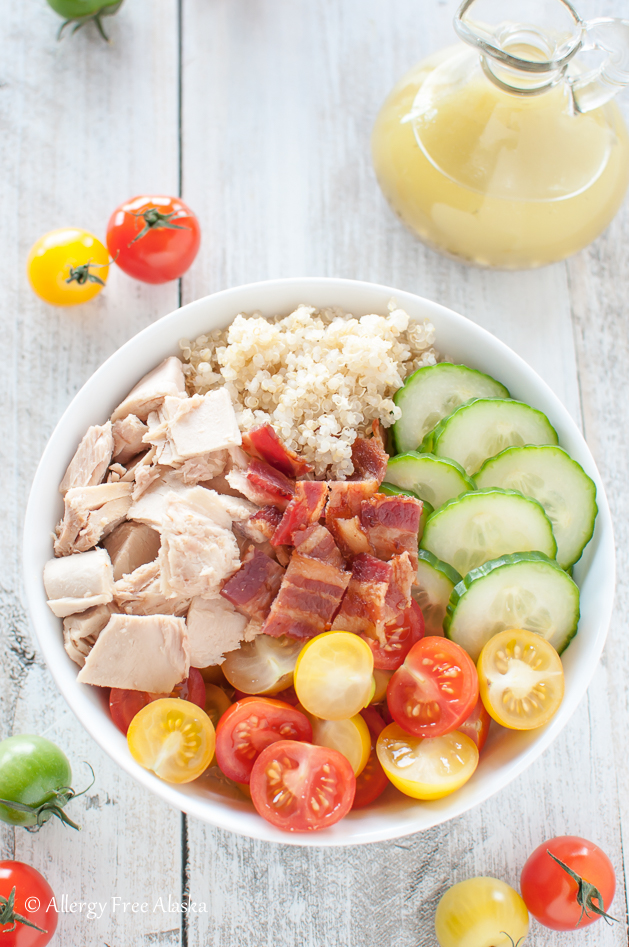 Tuna and Bacon Quinoa Bowl with Lemony Vinaigrette Recipe - Allergy Free Alaska