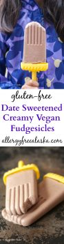 Rich and fudgy Date Sweetened Creamy Vegan Fudgesicles. Your kids will never suspect there isn't an ounce of sugar in these fudgesicles. None.