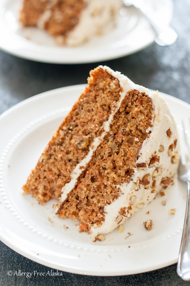 Moist Carrot Cake with Fluffy Vanilla Frosting