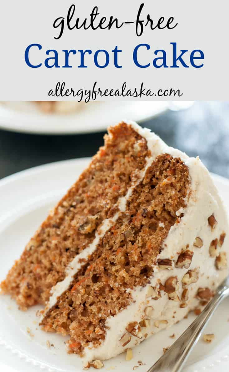 """picture of a slice of gluten-free carrot cake with text saying """"gluten-free carrot cake"""" and """"allergyfreealaska.com"""""""