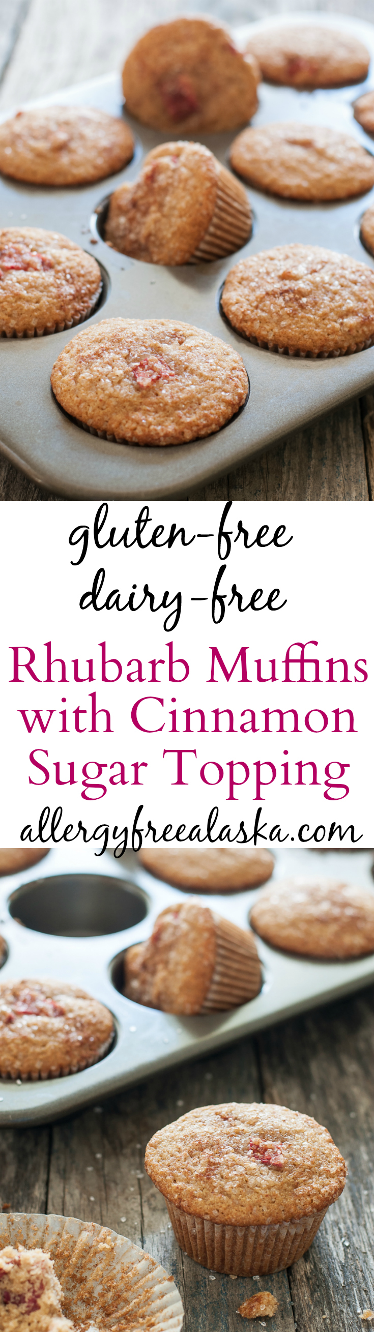Gluten-Free Dairy-Free Rhubarb Muffins with a crunchy Cinnamon Sugar Topping.
