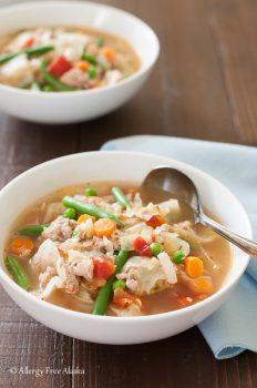 Ground Turkey and Garden Vegetable Soup with Quinoa {gluten-free}