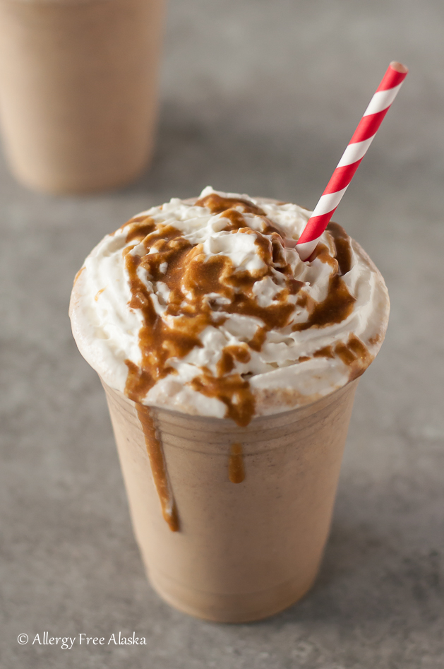 Vegan Salted Caramel Frappuccino Recipe {dairy-free} from Allergy Free Alaska