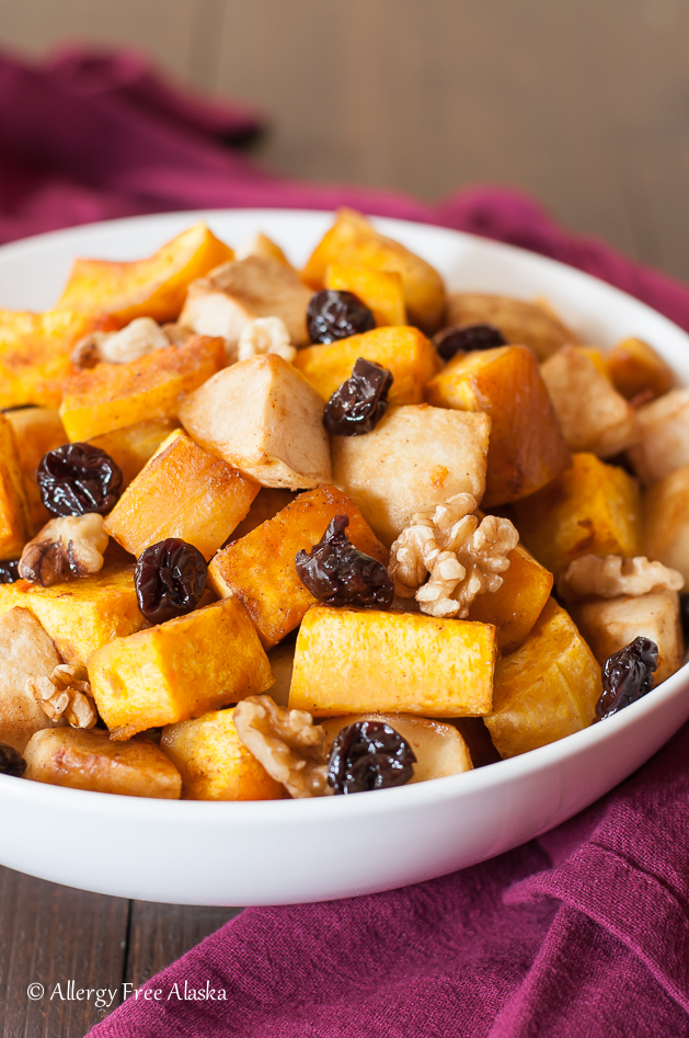 Recipe for Roasted Butternut Squash with Apples, Tart Cherries and Walnuts - Allergy Free Alaska