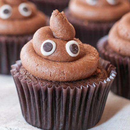 """Gluten Free """"Poopcakes"""" a.k.a. Poop Emoji Cupcakes"""