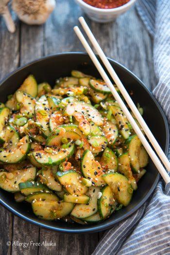Quick Kimchi Cucumbers