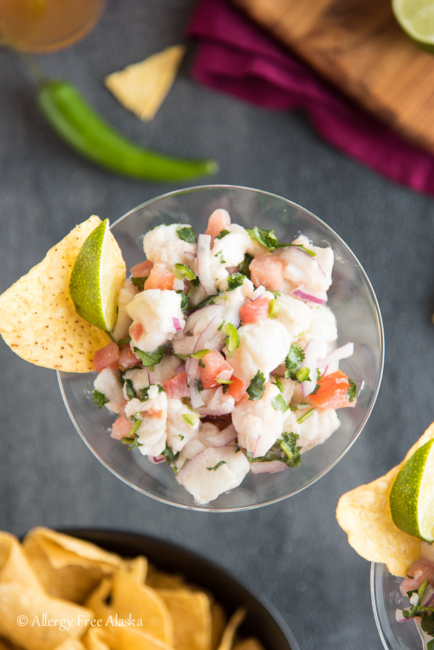 fresh & spicy halibut ceviche recipe in cup