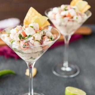 fresh & spicy halibut ceviche recipe in martini glasses