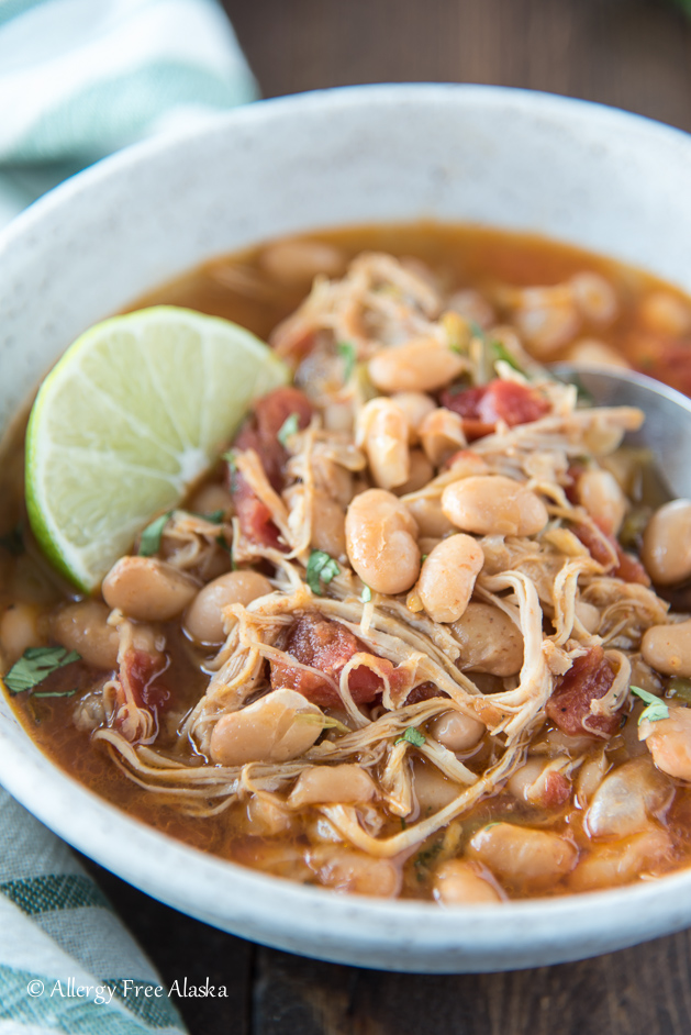 Instant Pot White Bean Chicken Chili in Bowl