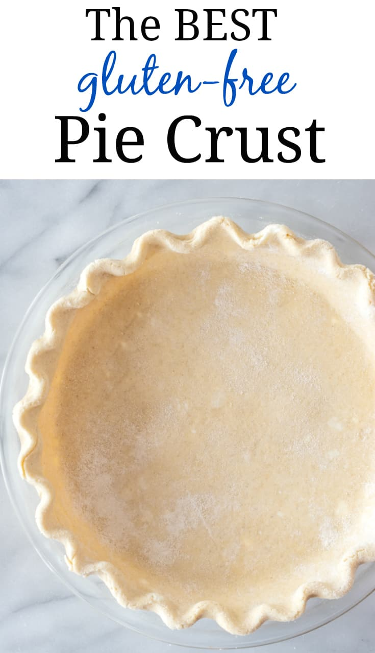 pinterest pin with raw gluten free pie crust in pie plate on marble background. Text says