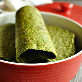 Gluten Free & Vegan Spinach Tortillas