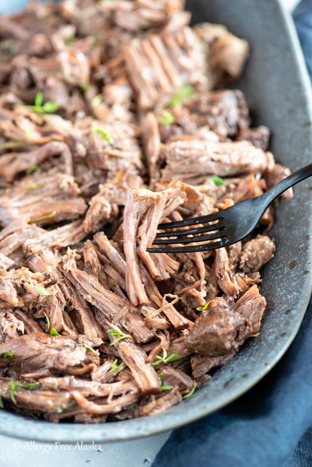 chuck roast on fork