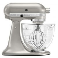 KitchenAid KSM155GBSR 5-Qt. Artisan Design Series with Glass Bowl - Sugar Pearl Silver