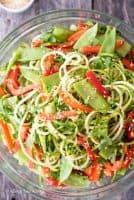 overhead shot of sesame zucchini noodles salad
