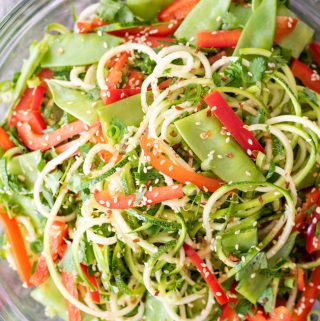 overhead shot of sesame zucchini noodles salad