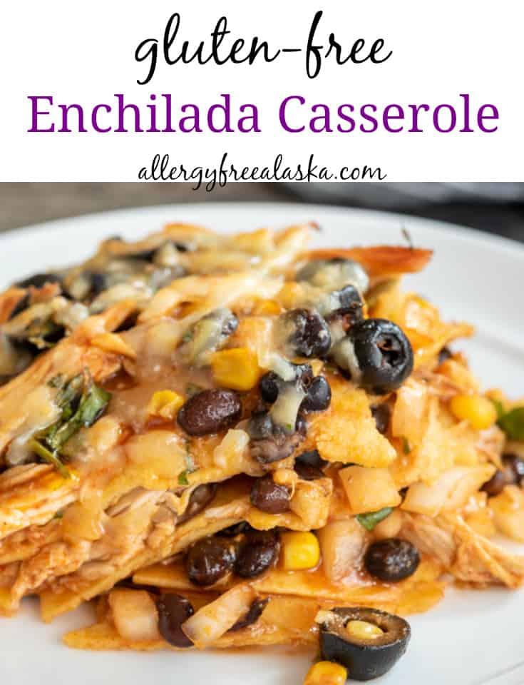piece of gluten free enchilada casserole sitting on white plate