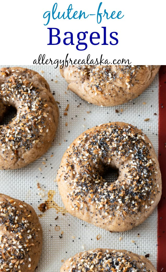 pinterest collage with text of gluten free bagels