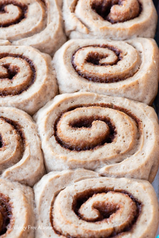 top down view of baked gluten free cinnamon rolls