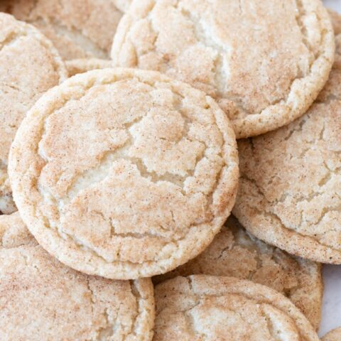 close up of gluten-free snickerdoodles in a pile