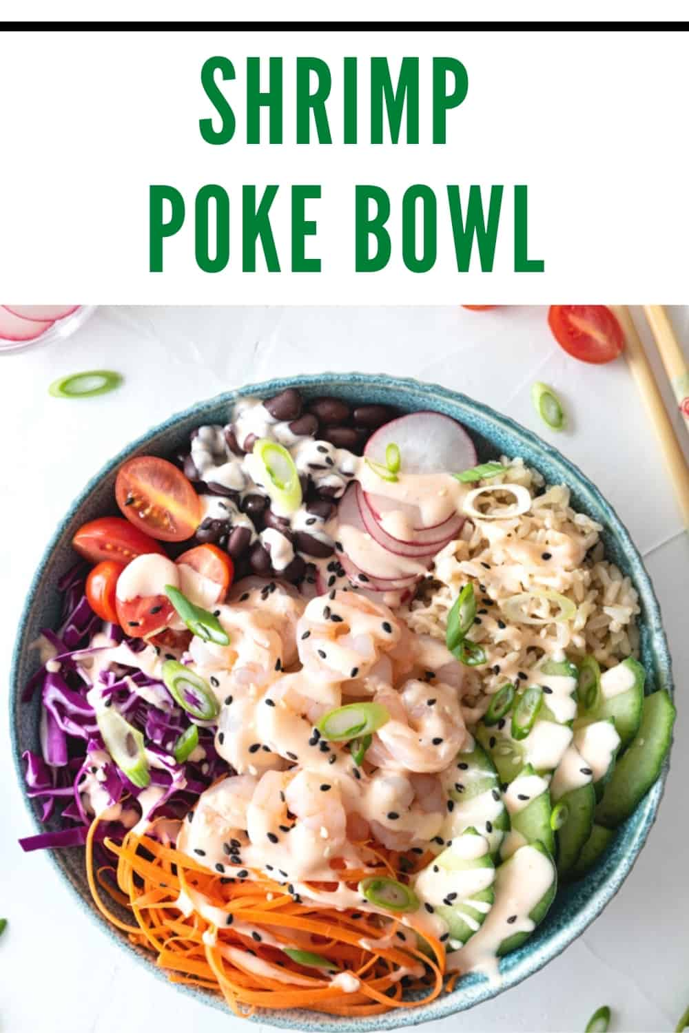 "pinterest pin collage with picture of shrimp poke bowl and ""shrimp poke bowl"" text"