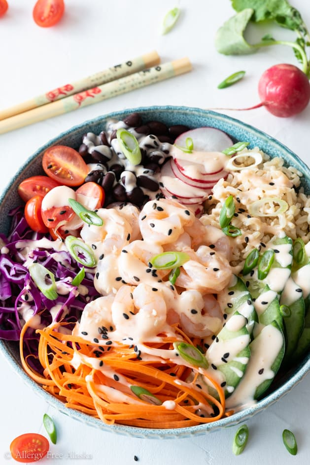 Shrimp poke bowl at different angle