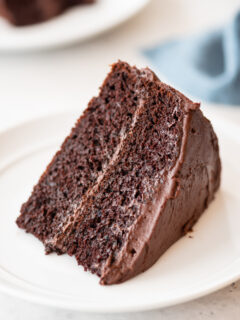 at different angle: Slice of chocolate cake sitting on white plate, blue napkin in background
